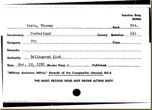 Thomas Irwin Cumberland County, PA 4th Battalion 7th Company on Delinquent List Nov. 19, 1782