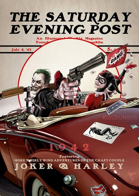Saturday Evening Post - Joker and Harley 1942 by OnlyMilo