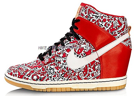 Liberty London X NIKE Dunk Sky High Wedge Heel shoe Hyperclave Blaze Free 5.0 Nike Cortez, NIKE Air Max 1 sports shoes footwear