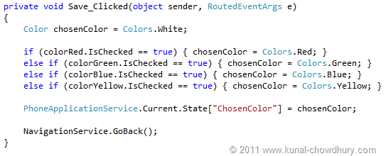Saving Value Code Snippet (WP7 Application State Management Demo)