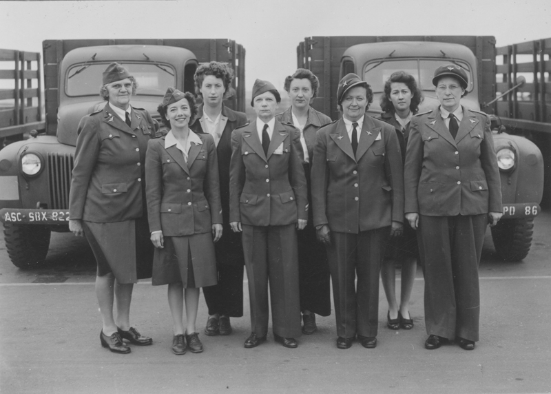 Dorothy Putnam in a group picture with the drivers of the Woman's Ambulance and Transport Corps of California, Inc. Putnam was a driver for the Beverly Hills Unit. 1941.