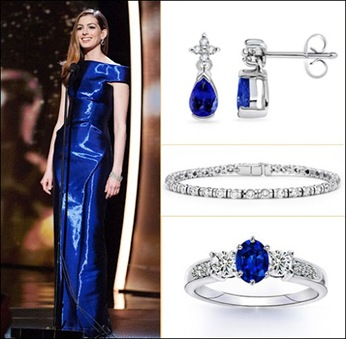 Anne Hathaway Dazzled With Her Tanzanite Jewelry