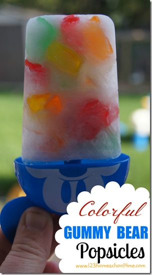 2 Ingredient - colorful Gummy Bear Popsicles that are easy-to-make, refreshing, and loads of summer fun. (popsicle recipe, summer recipes, kids activities)