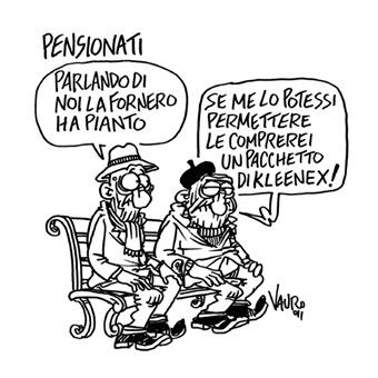 Pensionati come barboni dopo riforma Elsa Fornero (Vauro 2011)