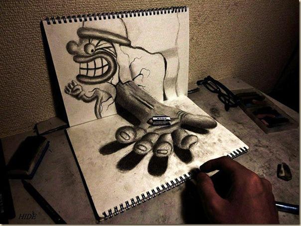 Incroyables dessins au crayon en 3D par Nagai Hideyuki-006