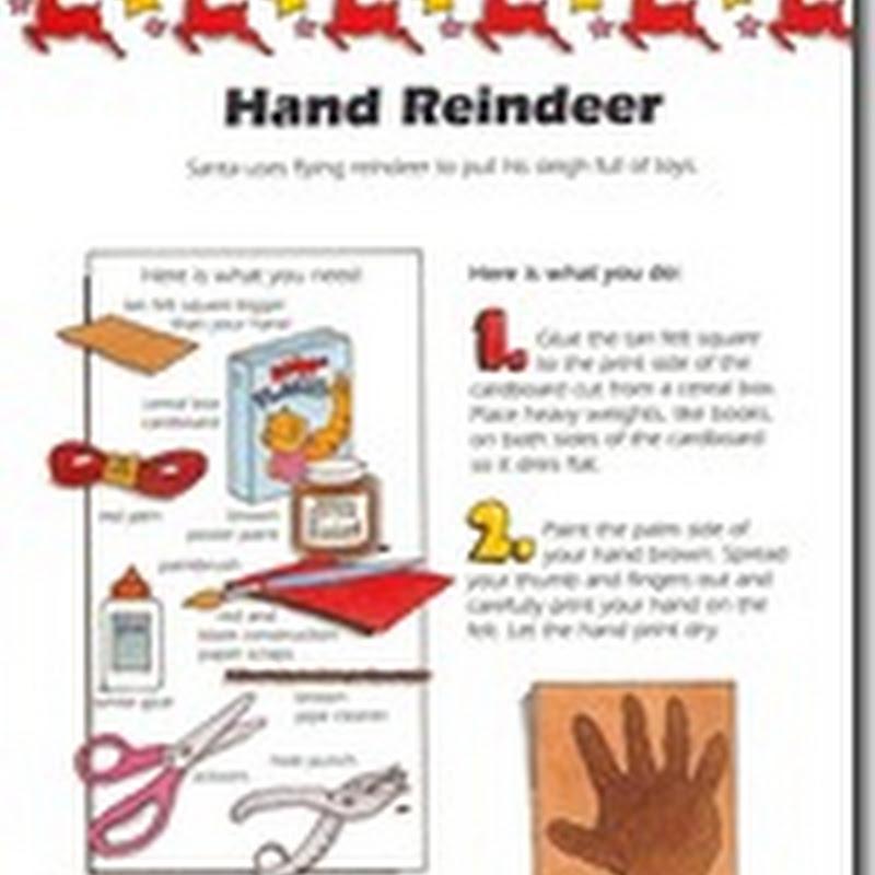 Manualidades navidad RENO fieltro hecho con el contorno de la mano