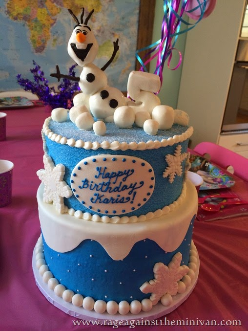 frozen themed birthday party cake