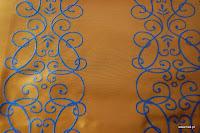 """Luksusowa trudnopalna tkanina z haftem. """"Tafta"""" butikowa. Na zasłony, poduszki, narzuty, dekoracje. Brązowa, niebieska."""