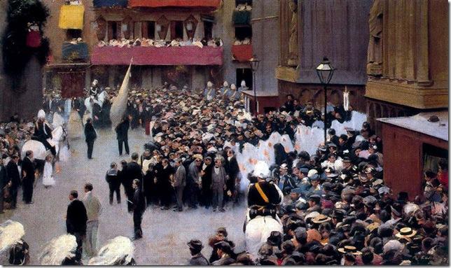 ramon casas i carbo_Corpus. Salida de la procesión de la iglesia de Santa María_1898-99