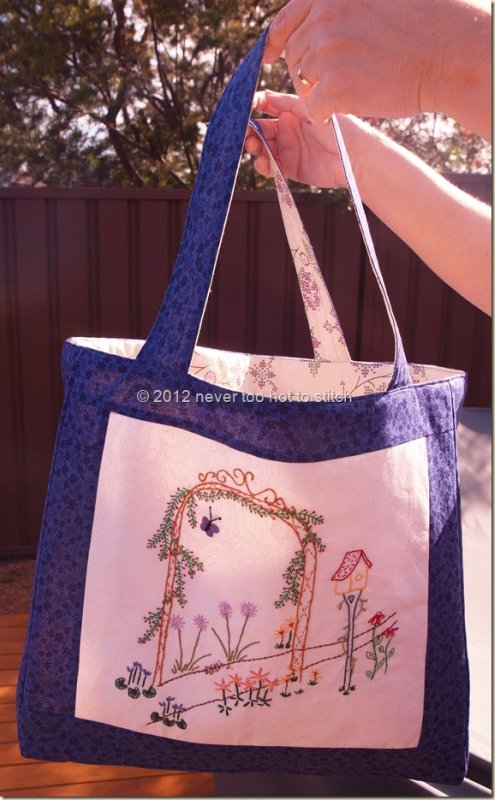 2012 garden embroidery tote outside
