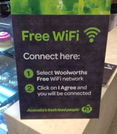 Sign in Woolworhts offerring free wifi