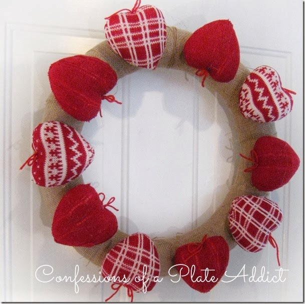 CONFESSIONS OF A PLATE ADDICT Rustic Valentine Wreath with Sweater Hearts