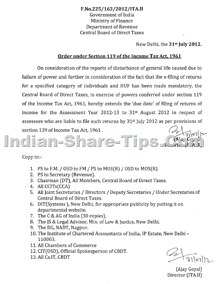 income tax filing date circular