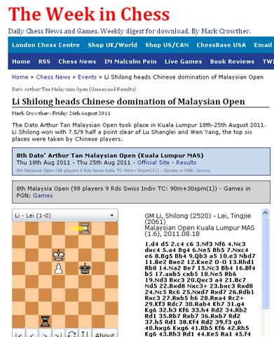 laman firey rook chess malaysia: the week in chess