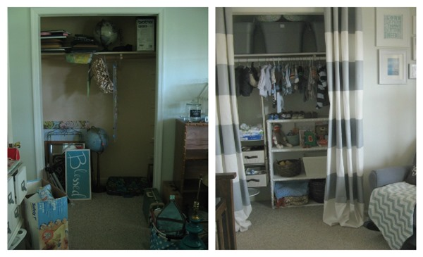 nursery closet before and after