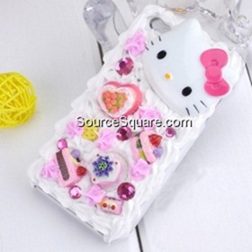 SuperCuteIceCreamCakeHelloKittyHardCoverforiPhone4