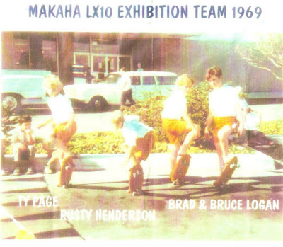 Left to right is Ty Page, Rusty Henderson, Brad & Bruce Logan during a Makaha Demo in 1969.