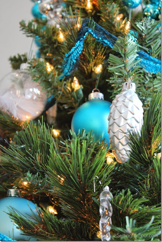 Rustic Glam Blue Christmas Tree