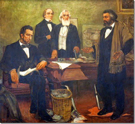 Frederick Douglass appealingPresident LincolncabinetEnlistBlacks,William Edouard Scott-600