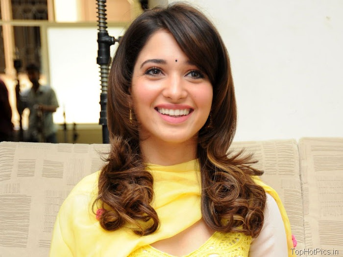 Tamanna Hot in Yellow Indian Dress photos 1