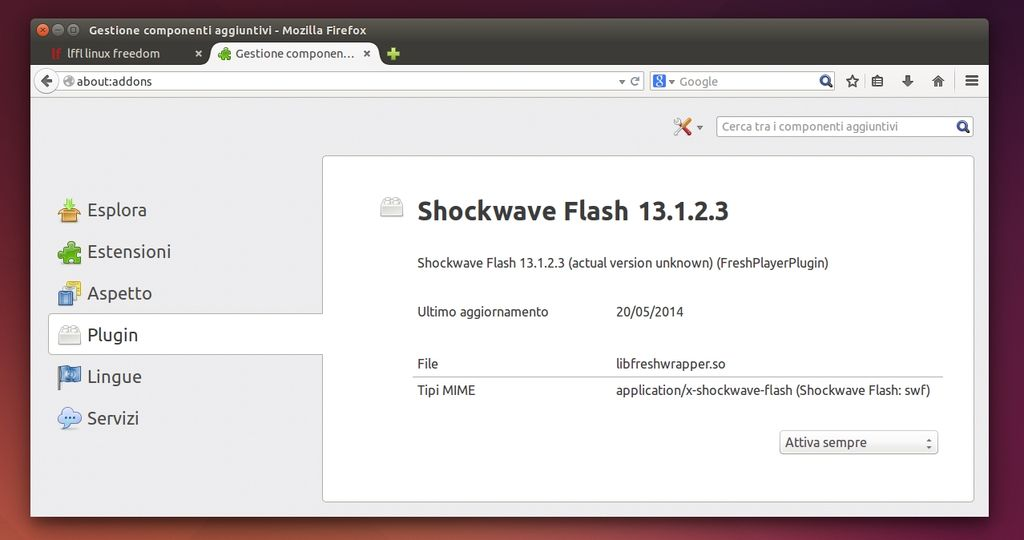 Fresh Player Plugin in Firefox su Ubuntu Linux