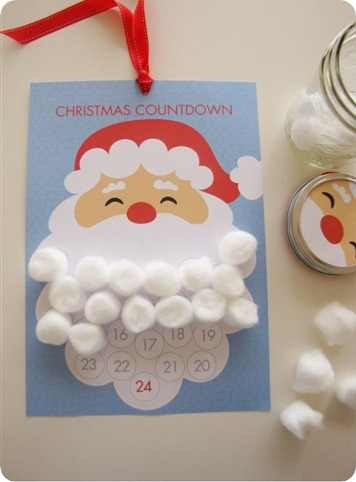 santa beard advent printable