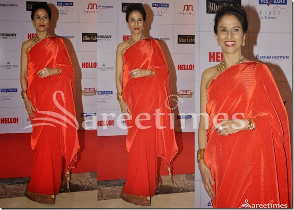 Shobha_De_Red_Plain_Saree