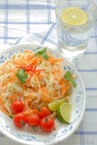 Carrot and Cabbage salad with coconut milk dressing