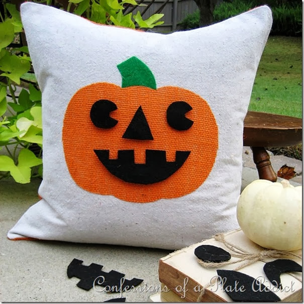 Jack-O-Lantern Pillow with Interchangeable Faces