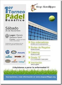 1er Torneo de Pádel Benéfico ONG Síndrome de Sanfilippo en el Club Manolo Santana Sport.