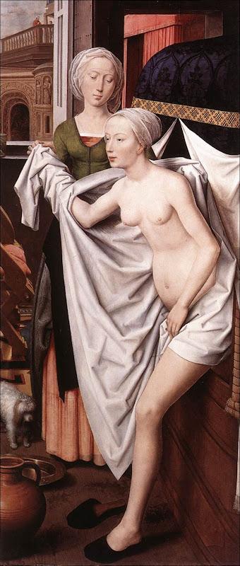 H.Memling, Bethsabée sortant du bain
