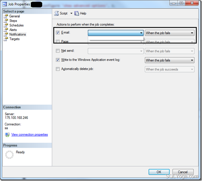 SQL Yoga Configure notification to send an email when JOB fails #1
