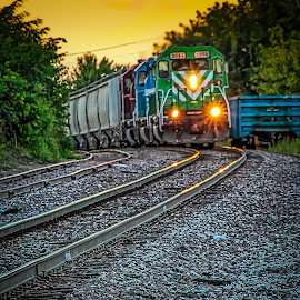 Sunset Turn by Ron Meyers - Transportation Trains ( train )