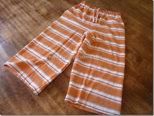 Make a pair of children's pajama pants from a tee shirt.  Check it out at Crafty Cousins (18)
