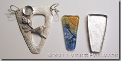 Vickie Hallmark sun bird pendant glass enamel silver clay components