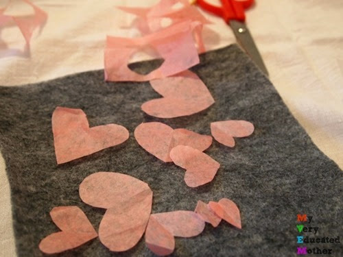 tissuepaperhearts #kidsactivities #holidayprojects #ValentinesDayProjects