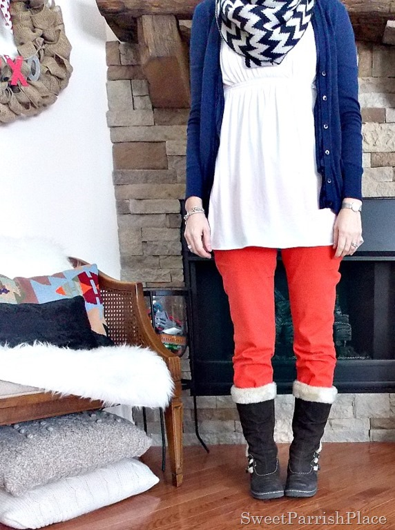 orange skinny jeans, white tunic, navy cardigan and chevron scarf with brown furry boots2