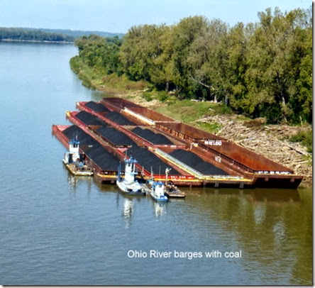 Ohio River barges with coal