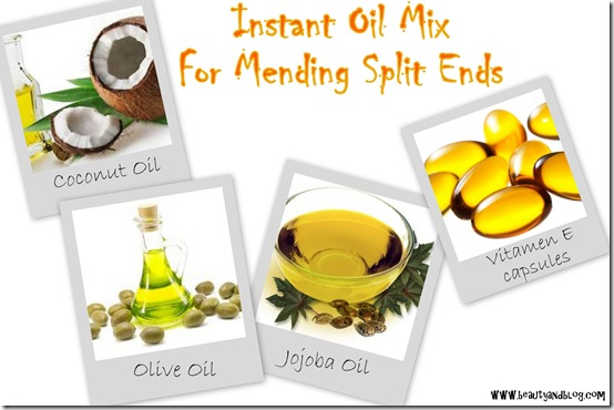 Do It Yourself Instant Oil Mix For Repairing Split Ends