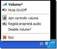 Volume2 menu icona nella barra di sistema