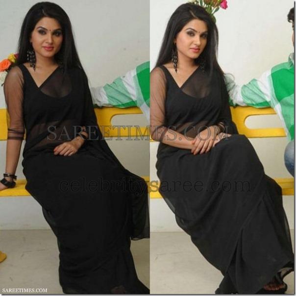 Kavya_Singh_Black_Plain_Saree