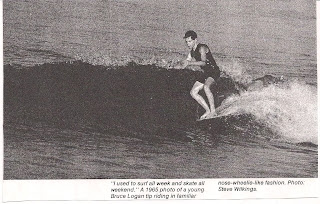 Bruce got his nose wheelie ability from riding the nose of his surfboard.