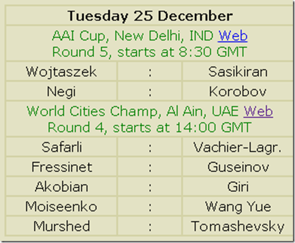 Two Chess Events 25 Dec 2012