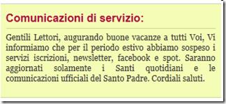 Comunicazione dal sito Pontifex