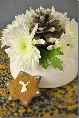 flower frog vase with star cookie