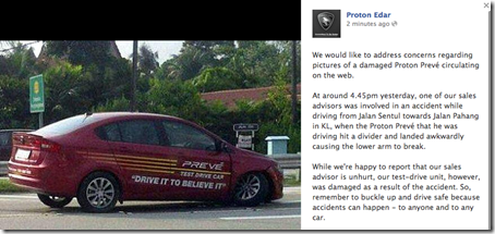Proton Preve Penjelasan Accident dai Laman Facebook