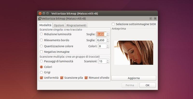 Inkscape - Vettorizza bitmap