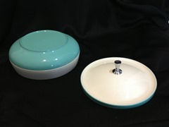 2 piece turquoise blue and white bowl set (bowl and lid), with glitter specks throughout the white, of Bopp-Decker by Vacron Plastic Thermal ware