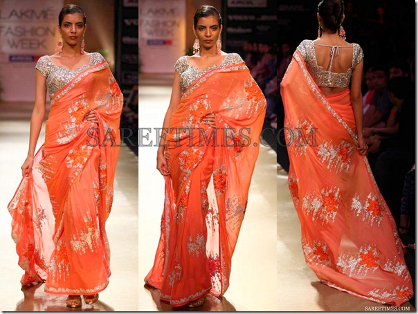 Pallavi_Jaikishan_Orange_Saree