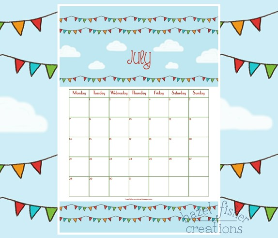 July 2014 free printable calendar hazel fisher creations